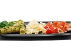 三色意大利的意大利面食 库存照片