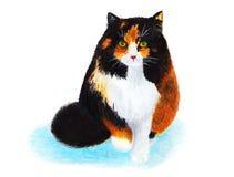 三色的猫 她通过雪走 额嘴装饰飞行例证图象其纸部分燕子水彩 免版税图库摄影