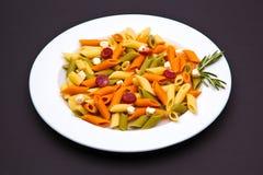 三色盘的意大利面食 免版税库存图片