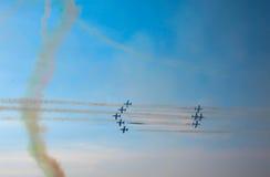 三色箭头飞行表演 Tirrenia,比萨,意大利, 2 9月11日, 图库摄影