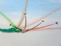 三色箭头飞行表演 Tirrenia,比萨,意大利, 2 9月11日, 免版税库存照片