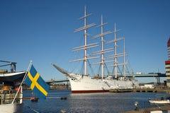 三被上船桅的三桅帆北欧海盗 哥特人瑞典 库存图片