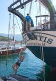三被上船桅的brigg亚特兰提斯 免版税库存照片