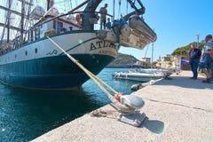 三被上船桅的brigg亚特兰提斯 免版税库存图片