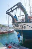 三被上船桅的brigg亚特兰提斯 库存照片