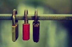 三被锁的挂锁 免版税库存图片