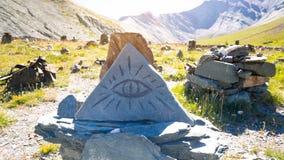 三角不可思议的不可思议的石头 免版税库存图片