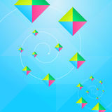 三角和正方形蓝色抽象背景 免版税库存图片