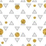 三角和金黄圈子,衣服饰物之小金属片 无缝的模式 几何,抽象背景 乱画形状 免版税库存照片
