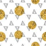 三角和金黄圈子,衣服饰物之小金属片 无缝的模式 几何,抽象背景 乱画形状 库存照片