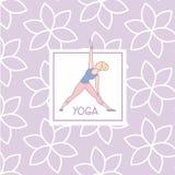 三角姿势瑜伽演播室设计卡片 库存照片