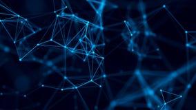 与连接的小点和线的抽象背景 三角形状的发行在空间的 r 网络连接 皇族释放例证