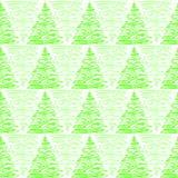 三角杉树森林无缝的背景 库存图片