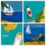 三角板卡片的例证有海、风船和海滩顶面和正面图与沙子,棕榈,太阳 图象 免版税图库摄影