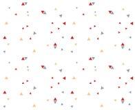 三角样式无缝的抽象蓝色红色橙色颜色geometr 免版税库存照片