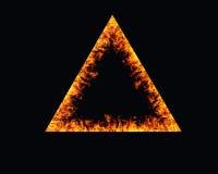 三角火灾发火焰在背景的框架 库存图片