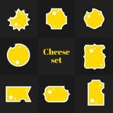 三角片断乳酪卡片的汇集 库存照片
