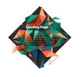 三角设计摘要背景,登陆的页 低多在白色的样式五颜六色的三角 免版税库存图片