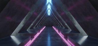 三角隧道霓虹萤光充满活力的紫色蓝色发光的具体被带领的激光黑暗的空的走廊入口太空飞船3D 库存例证