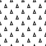 三角 黑色模式无缝的白色 盖子的几何,抽象背景,纺织品 乱画形状 免版税库存图片