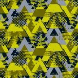 三角camo蕨大胆的无缝的传染媒介样式 库存照片