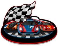 三辆加速的赛车 向量例证