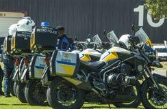 三辆南非交通警摩托车 免版税库存照片