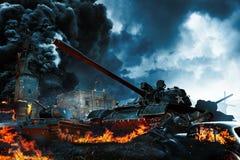 三辆坦克在冲突区域 库存照片