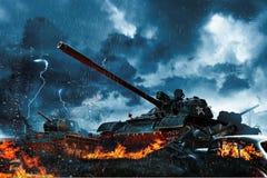 三辆坦克在雨林里 库存图片