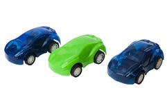三辆塑料玩具汽车 库存图片
