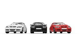 三辆汽车正面图 免版税图库摄影