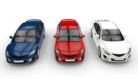 三辆汽车-顶面正面图 向量例证