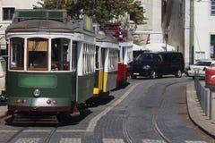 三辆电车在里斯本 库存照片