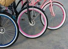 三辆自行车轮子细节  库存图片
