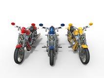 三辆葡萄酒摩托车-顶视图 免版税库存图片