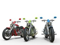 三辆葡萄酒摩托车 免版税库存图片