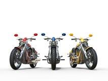 三辆令人敬畏的五颜六色的葡萄酒摩托车 图库摄影