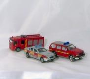 三辆紧急情况服务(火)车 免版税库存照片