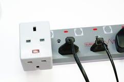 三通的电源插座 免版税库存图片