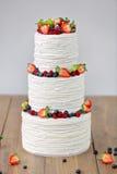 三部分赤裸婚宴喜饼用果子和莓果 免版税库存图片