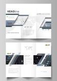 三部合成的小册子企业模板 容易的编辑可能的传染媒介布局 抽象在最低纲领派的设计infographic背景 免版税库存图片