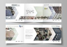 三部合成的方形的设计小册子的企业模板 传单盖子,抽象平的布局,容易的编辑可能的传染媒介 免版税库存照片