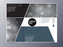三部合成蓝绿色现代小册子设计模板的传染媒介 库存图片