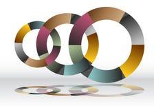 三重叠的回收的轮子图 免版税库存照片
