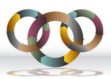 三重叠的回收的轮子图 图库摄影