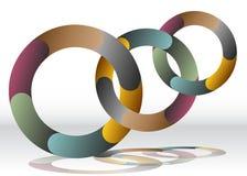 三重叠的回收的轮子图 库存图片