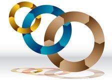 三重叠的回收的轮子图 免版税库存图片