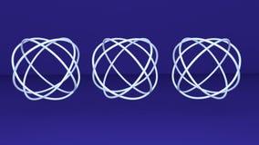 三金属银色球形knotes,抽象动画,转动在深蓝背景的略写法, 股票视频