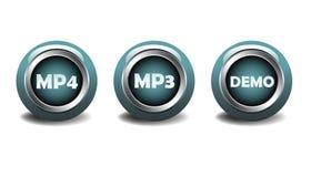 MP4、MP3和演示按钮 库存照片