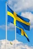 三面瑞典旗子 图库摄影